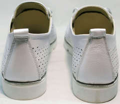 Женские туфли без каблука на шнурках летние Mi Lord 2007 White-Pearl.