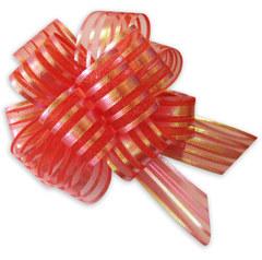 Бант-шар органза с перламутровой полосой 30х110 (красный)