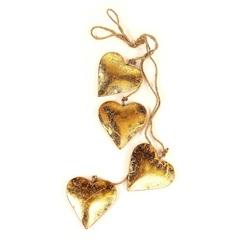 Гирлянда подвесная Golden Hearts, 4 шт. EnjoyMe