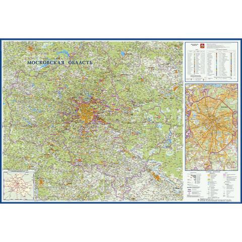 Настенная карта Московская область географическая,1:270 000,1,57х1,07м.