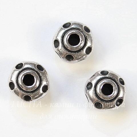 Бусина - рондель TierraCast 10х6 мм (цвет-античное серебро)