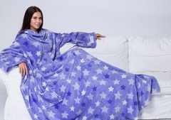 Плед с рукавами Sleepy Luxury «Звезды» фиолетовый, с поясом