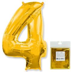 Цифра, 4, Золото, F 40''/102 см, 1 шт. в упаковке