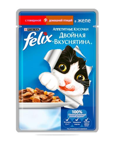 Felix кусочки в желе для кошек с говядиной и птицей 85 г