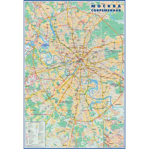 Настенная карта Москва современная,1:50 000, 0,7х1,0м.