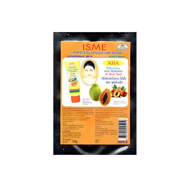 Cкраб для лица Papaya Facial Scrub с папайя и абрикосовой косточкой от Isme, 20 гр