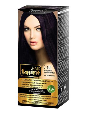 Белита-М Hair Happiness Крем-краска для волос аммиачная №3.16 холодный темный шатен