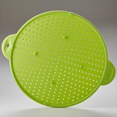 3 в 1: защитный экран, подставка и дуршлаг диам.28,5см силиконовый BE-0341S зеленый
