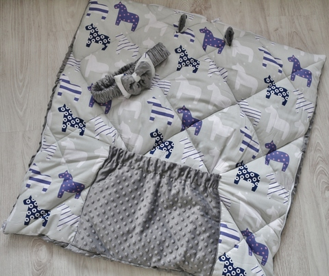 Зимнее одеяло - конверт - трансформер на выписку Лошадки