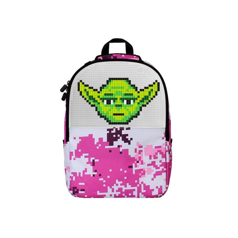 Школьный пиксельный рюкзак Camouflage розовый с рисунком пикселами