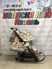 Санки-коляска Nika Ника детям 7-5, цветочный светлый
