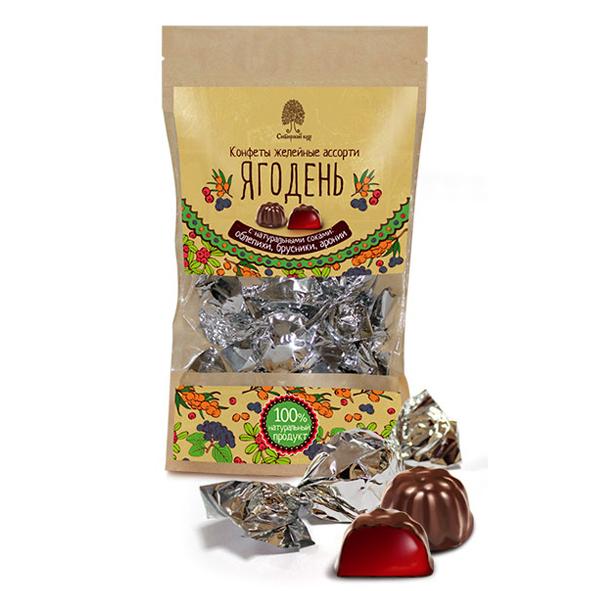 Конфеты Ягодень, мармелад в шоколаде, 150г