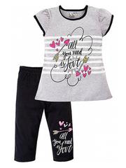 M004 Костюм детский (футболка+капри), серый