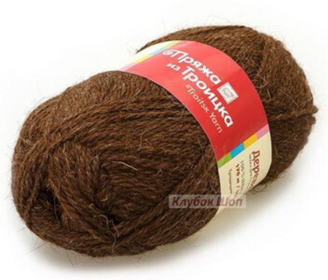 Пряжа Деревенька (Троицкая) Темно-коричневый 3657 - фото