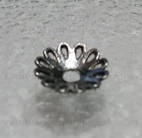 """Шапочка для бусины """"Ажурная"""" (цвет - античное серебро) 12  мм, 10 штук ()"""