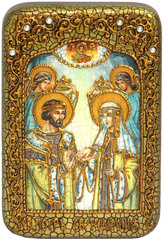 Инкрустированная Икона Петр и Февронья 15х10см на натуральном дереве, в подарочной коробке
