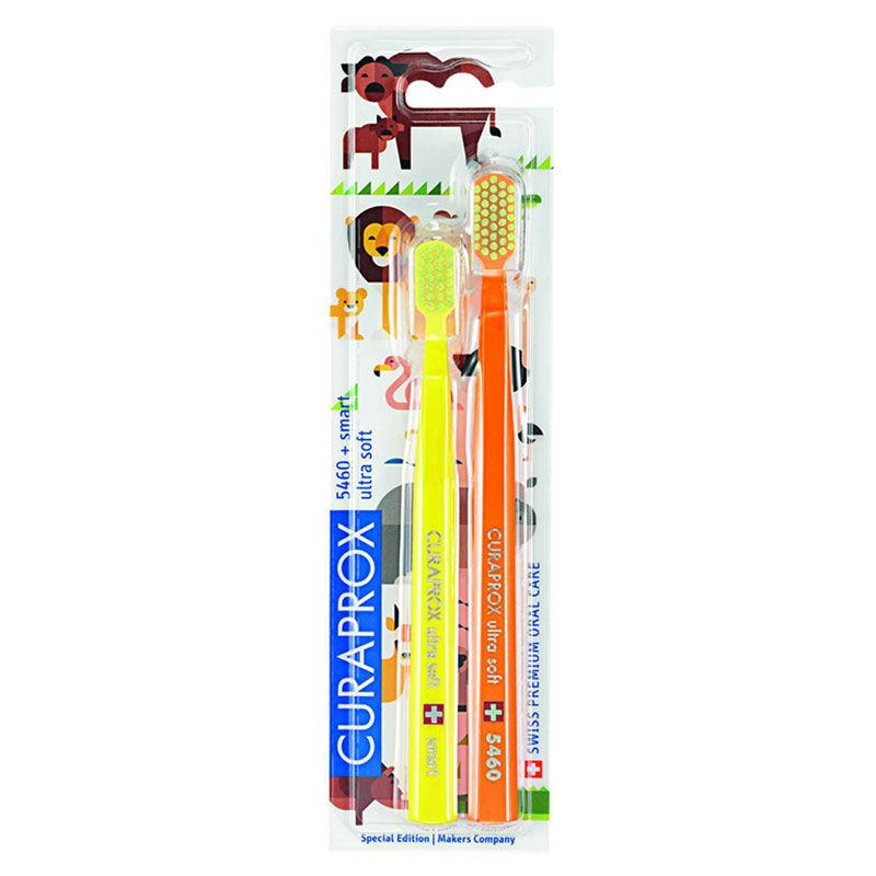 Набор зубных щеток для взрослого и ребенка / CURAPROX smart Duo Animal Family Edition 2018, 2 шт