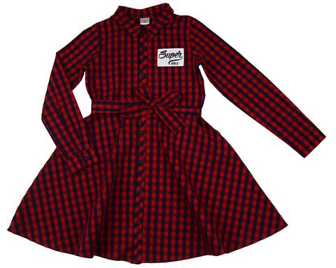 Платье в красно-синюю клетку Mini-Maxi (арт.UD3736(24))