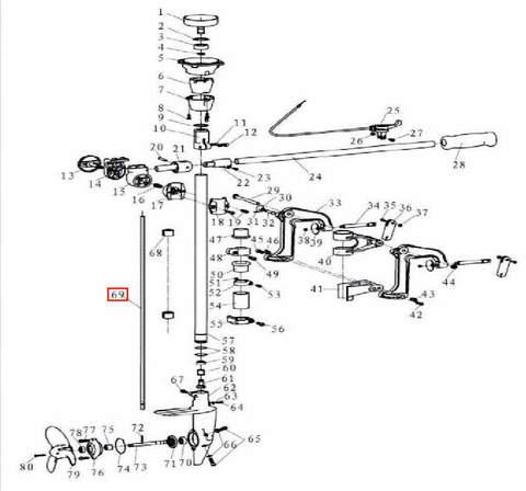 Вал вертикальный 8×700 для лодочного мотора T3,5 Sea-PRO