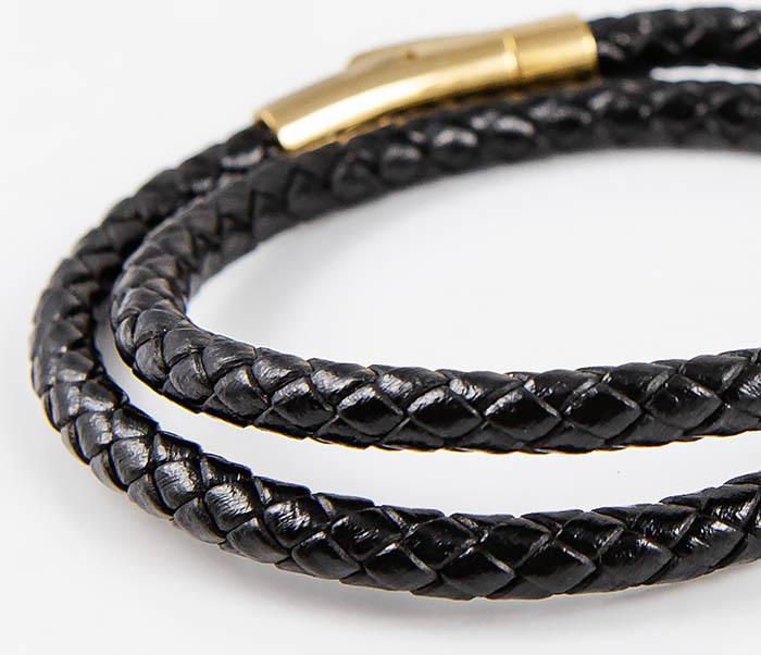 BM513-1G Двойной плетеный браслет из кожаного шнура фото 04