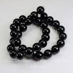 Бусина Агат (категория A), шарик, цвет - черный, 12 мм, нить