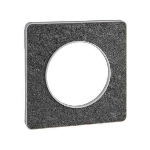 Рамка на 1 пост. Цвет Чёрный фосфор, белая вставка. Schneider Electric(Шнайдер электрик). Odace(Одес). S52P802T