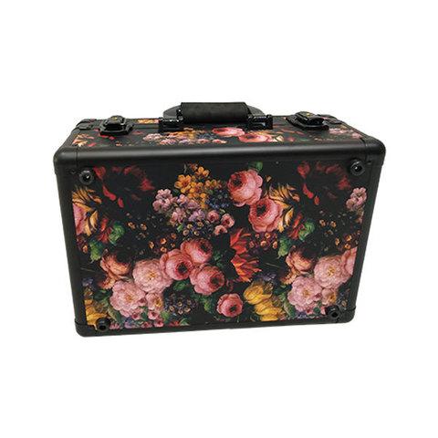 Бьюти кейс визажиста на колесиках (мобильная студия) LC019 Black with flowers
