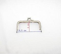 Фермуар (рамочный замок) прямоугольный , 8,5 см., под никель