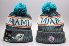 Шерстяная вязаная шапка футбольного клуба Майями (NFL Miami) с помпоном 1