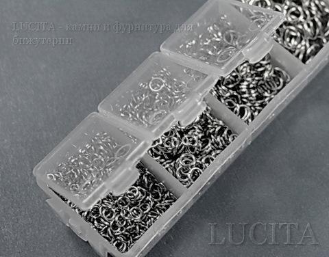 Набор колечек одинарных (примерно 1500 шт) в контейнере (цвет - античное серебро) 3-8х0,5-1 мм (Картинка3)