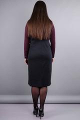 Альфа. Женское платье в деловом стиле больших размеров. Бордо/черный.