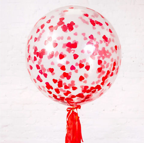 Большой шар с конфетти сердечки
