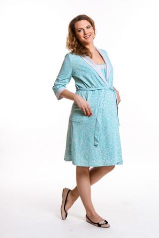 Комплект для беременных и кормящих с халатом и сорочкой 09307 серый меланж