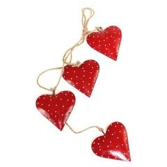 Гирлянда подвесная Red Hearts, 4 шт. EnjoyMe
