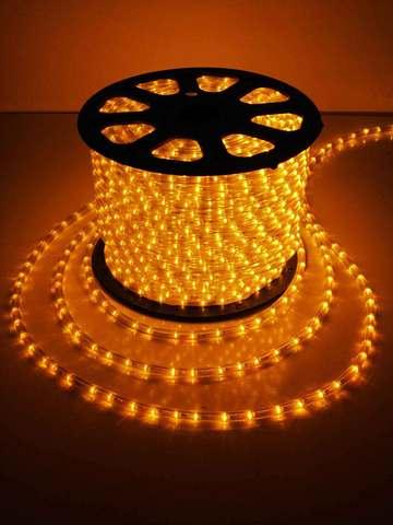 Дюралайт светодиодный, чейзинг, 13мм - 3 жилы - 36 led/m, Желтый