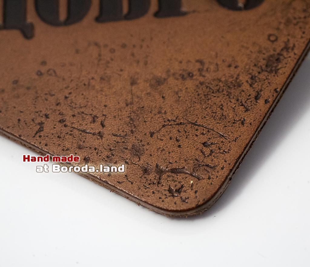 BY10-03-01 Кожаный зажим «Добро» для денег с металлическим держателем фото 02