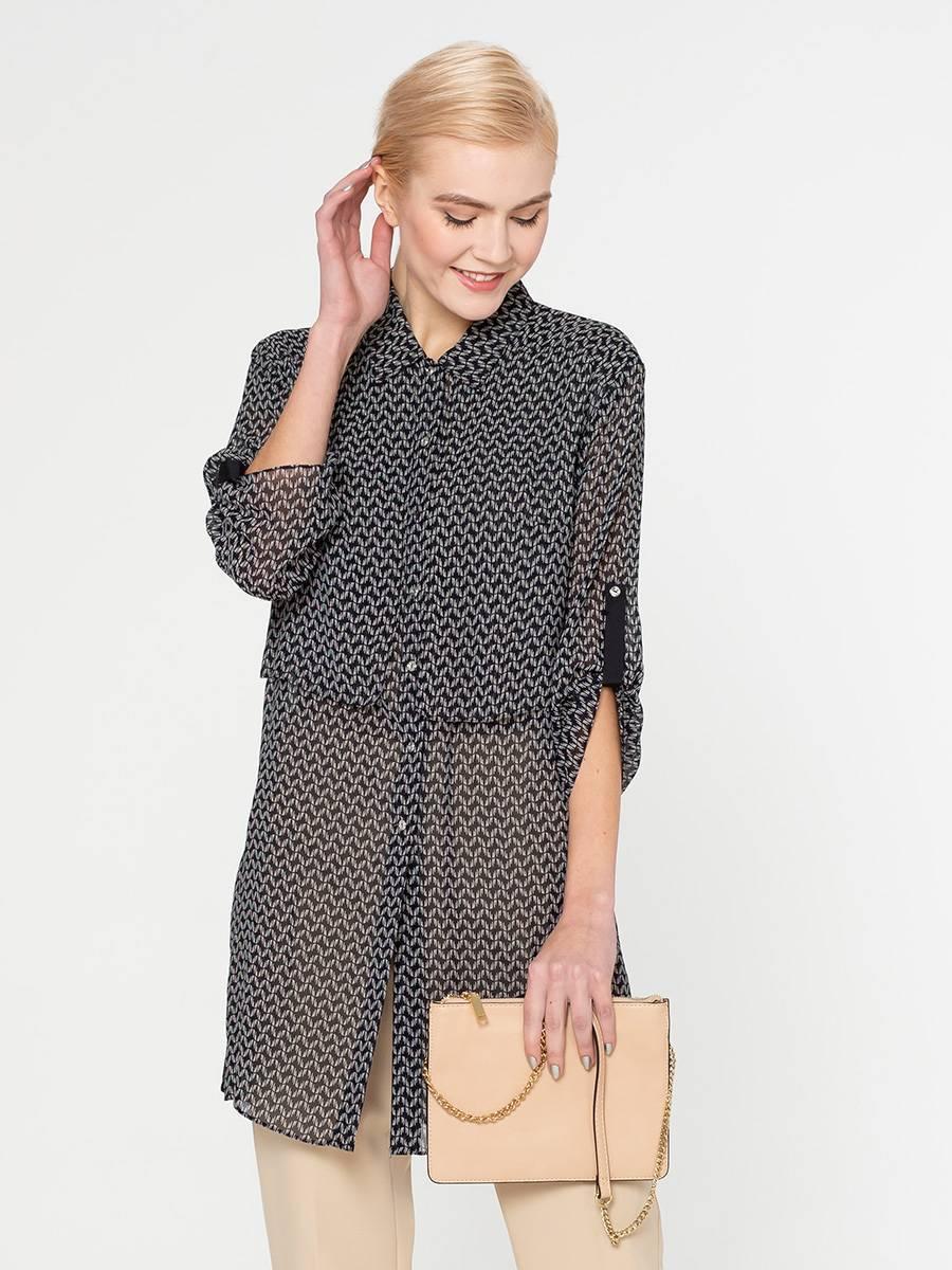 Блуза Г571-353 - Удлиненная блуза свободной формы из плотного, держащего форму, шифона. Отлетные детали в области груди, придают оригинальность и не дают просвечивать белье. Блуза прекрасно смотрится с леггинсами и узкими брюками.