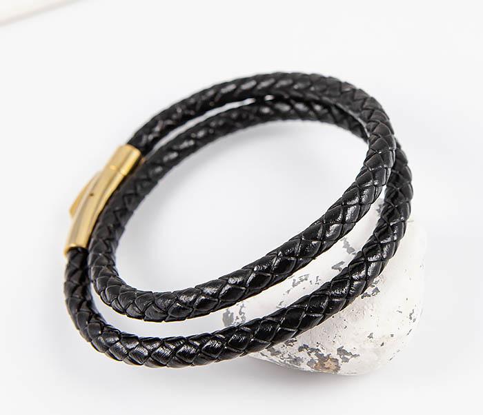 BM513-1G Двойной плетеный браслет из кожаного шнура фото 05
