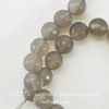 Бусина Агат, шарик с огранкой, цвет - серый, 8 мм, нить