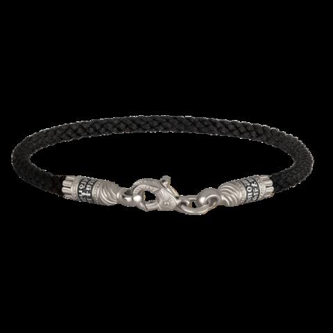 Черный текстильный браслет с серебряным замком. Толщина 3 мм.