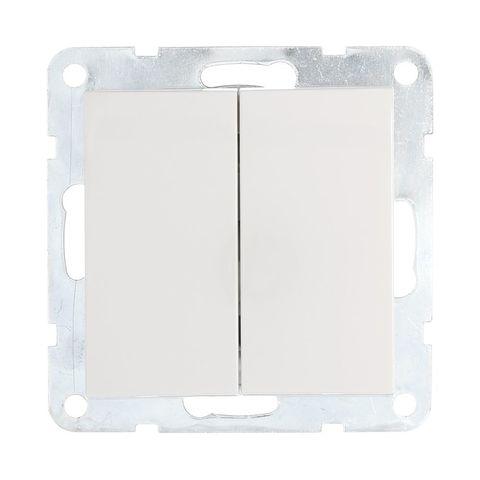 Выключатель двухклавишный, (схема 5) 16 A, 250 В~. Цвет Белый. LK Studio LK60 (ЛК Студио ЛК60). 861104