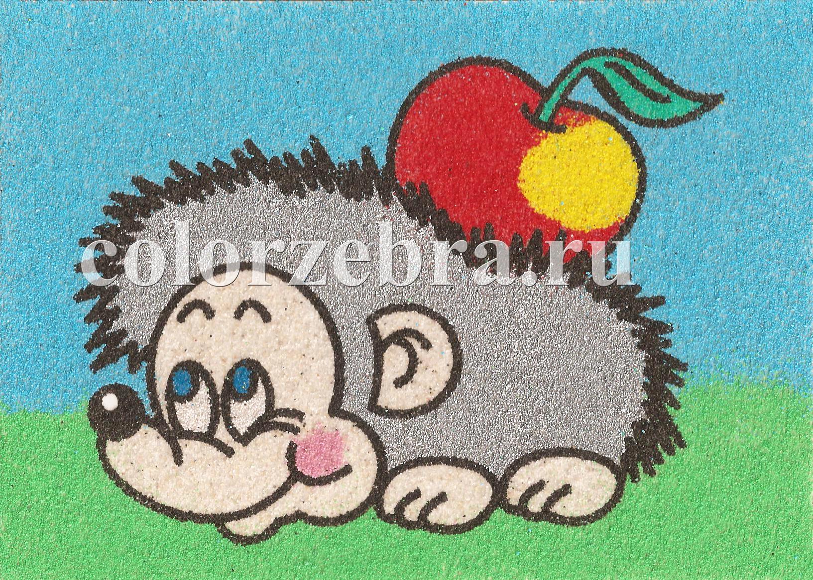 Песочный трехслойный трафарет Ежик с яблоком