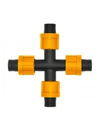 AD 5130 Крестовое соединение для капельной ленты на 4 выхода Dn17