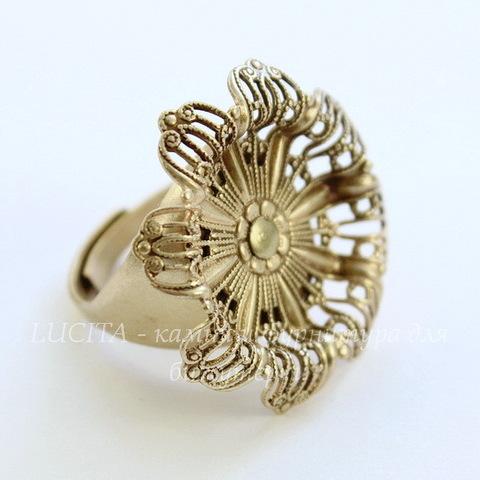 """Винтажная основа для кольца """"Цветок"""" с сеттингом для кабошона 19 мм (оксид латуни)"""