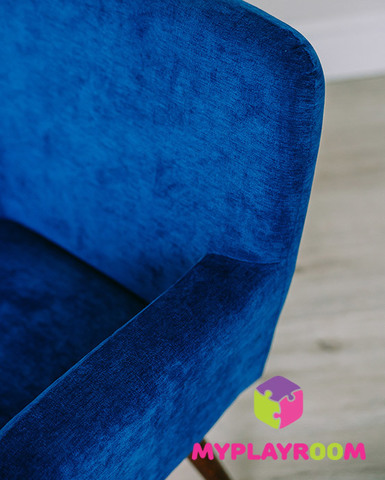 Детское стильное кресло в стиле 60-х, глубокий синий 4
