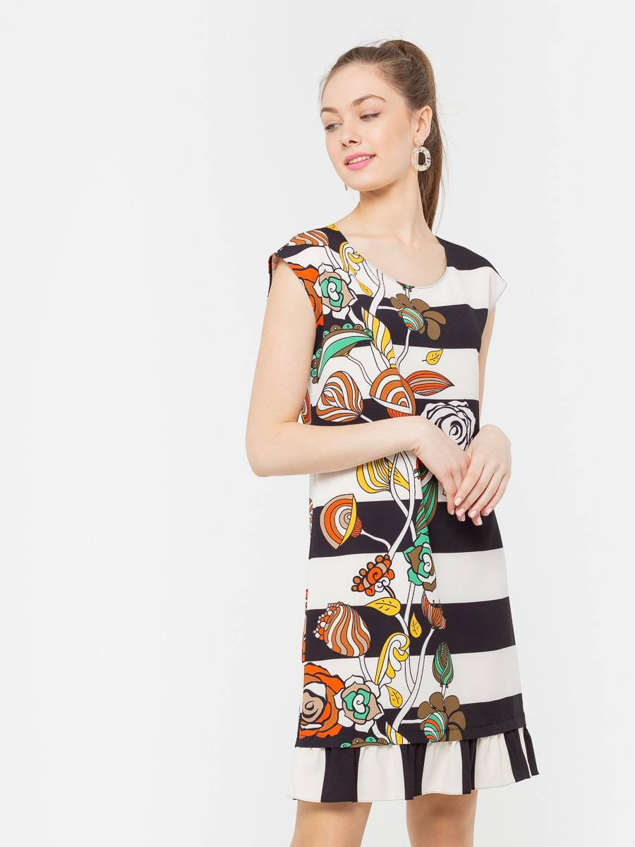 Платье З203-766 - Платье прямого силуэта со спущенной линией плеча и воланом по низу. Прекрасный летний вариант на каждый день