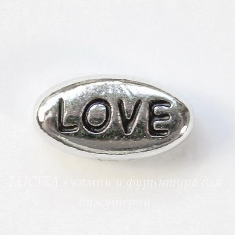 "Бусина овальная TierraCast ""Love"" (цвет-античное серебро) 11х6х4 мм"