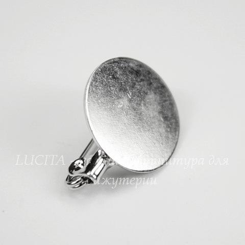 Основа для броши c круглой площадкой 15 мм (цвет - никель) 20х15 мм