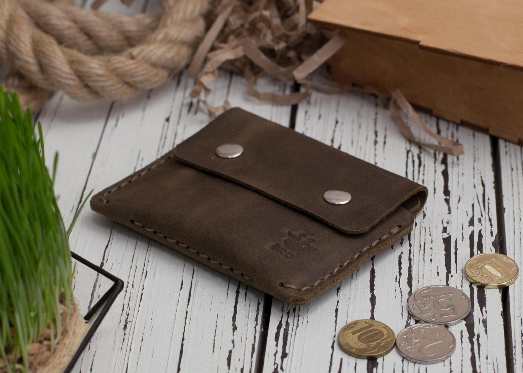 Кожаный картхолдер ручной работы с отделением для монет