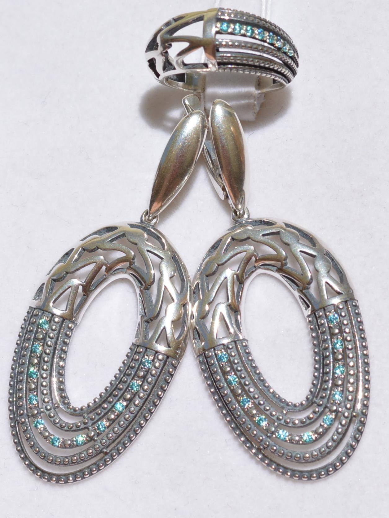 Стейси  (кольцо + серьги из серебра)